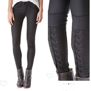 Rag & bone leather look lace up skinny black jeans